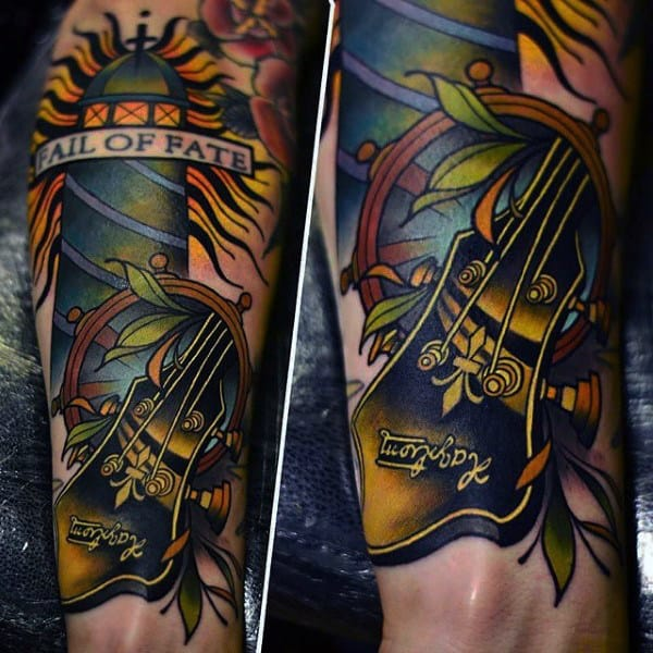 Electric Guitar Tattoo For Men