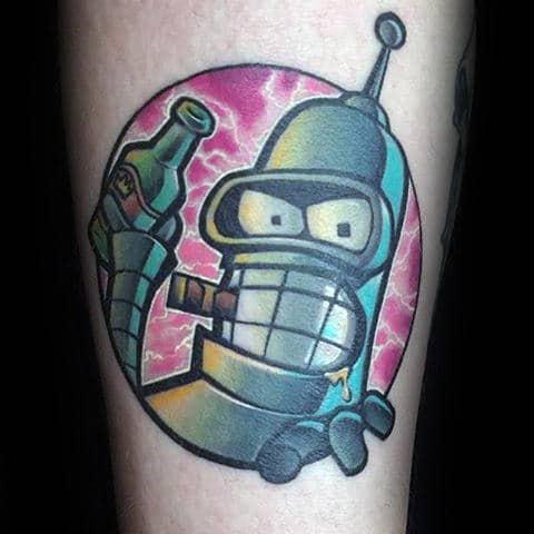 Electric Guys Robot Bender Futurama Arm Tatto