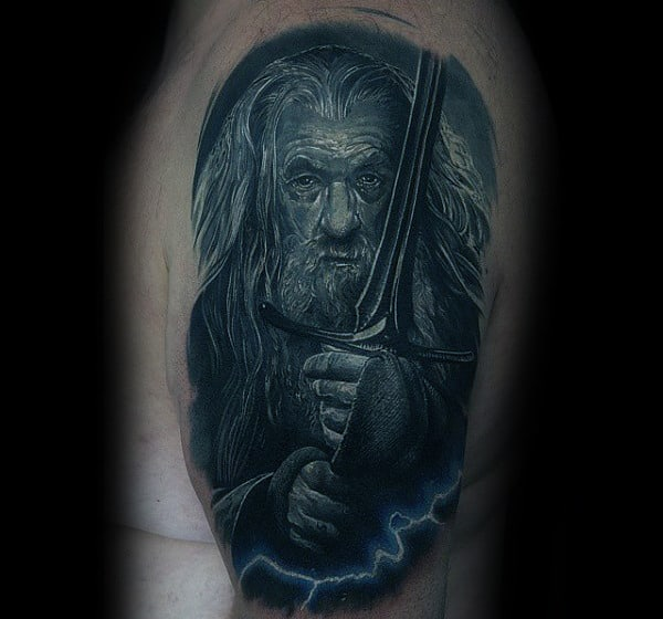 Electric Lord Of The Rings Gandalf Mens Tattoo On Arm