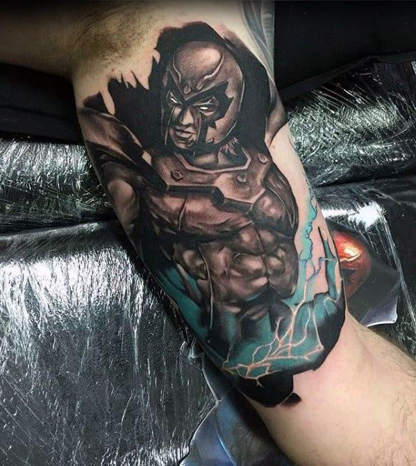 Electric Marvel Superhero Guys Inner Arm Bicep Tattoos