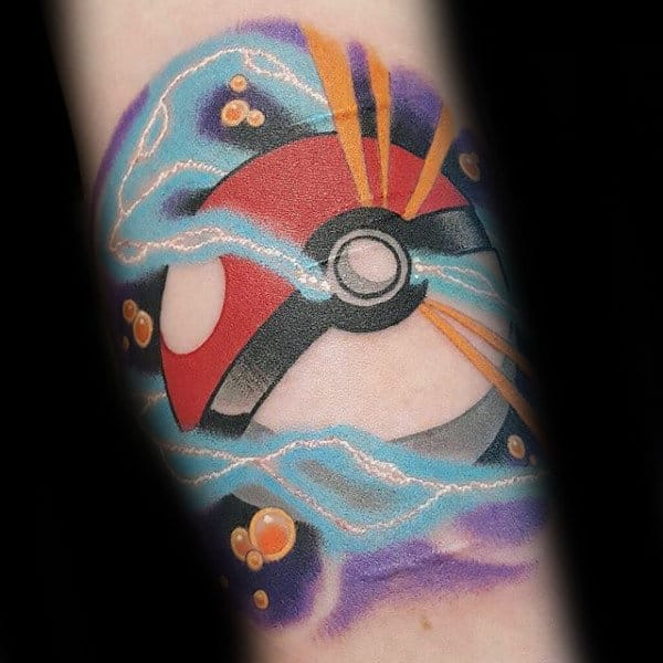 Electric Poke Ball Mens Pokemon Forearm Tattoo Designs
