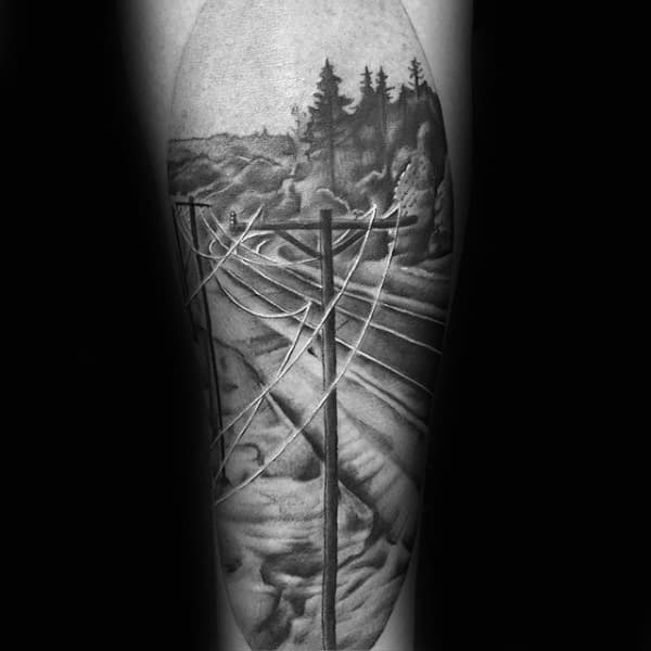 Electric Powerlines Male Lineman Sleeve Tattoo Design Ideas