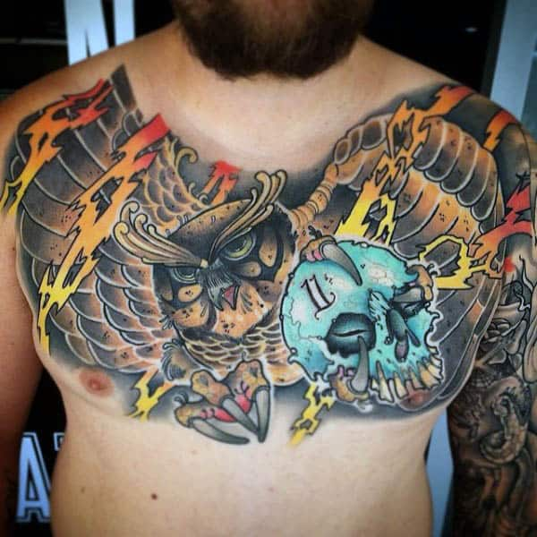 Electric Sparks And Skull Neo Traditional Tattoo Mens Chest