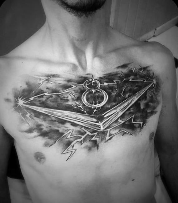 Electric V8 Guys Upper Chest Tattoos