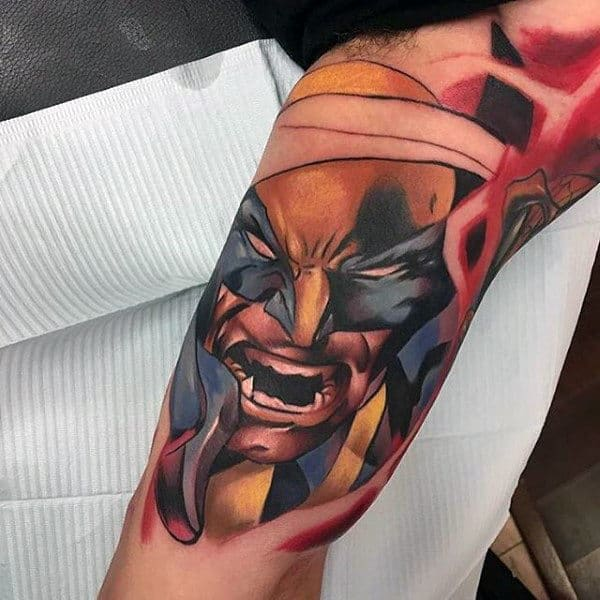 Electric Wolverine Mens Inner Arm Bicep Tattoos