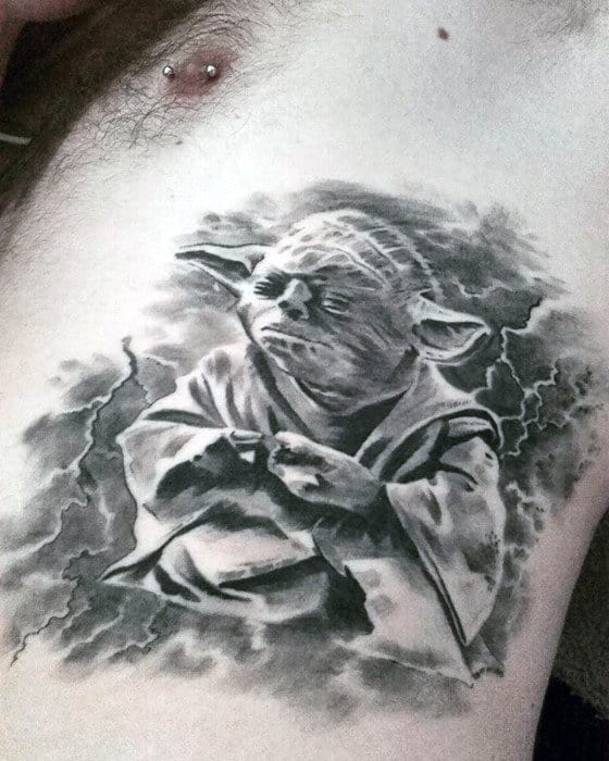 Electric Yoda Mens Watercolor Rib Cage Side 3d Tattoos