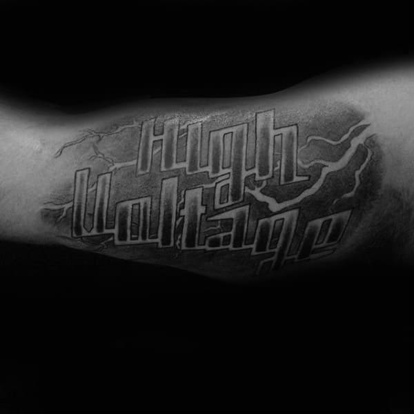 Electrical High Voltage Male Lineman Inner Arm Bicep Tattoo