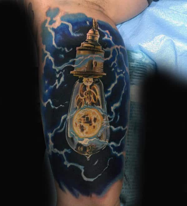 Electrical Light Bulb Mens Half Sleeve Tattoo