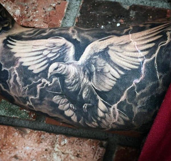 Electrical Storm Lightning Tattoo For Men On Bicep