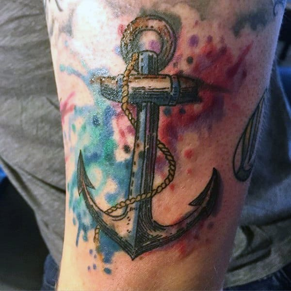 Elegant Anchor Watercolor Tattoo On Arms For Men