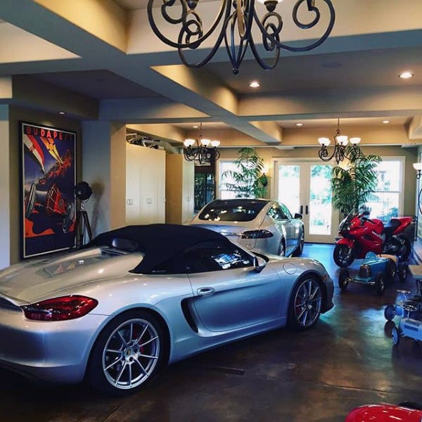 Elegant Dream Garage Design With Two Cars And One Motorcycle