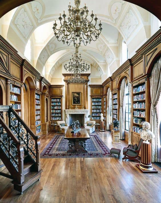 Elegant Luxury Home Library With Beautiful Decor