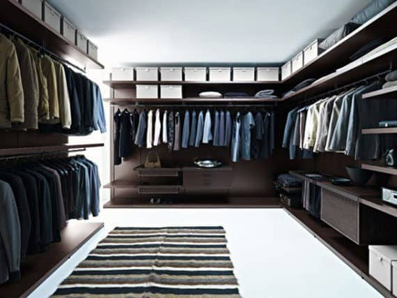 Elegant Mens Dark Wood Walk In Closet Designs