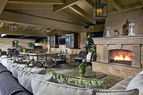 70 outdoor fireplace designs for men cool fire pit ideas for Luxury outdoor kitchen