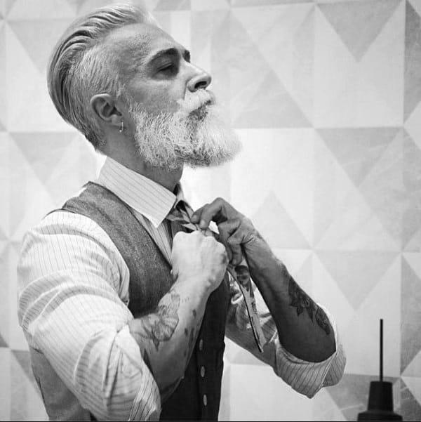 Elegant Slicked Back Hairstyle For Older Aged Gentlemen