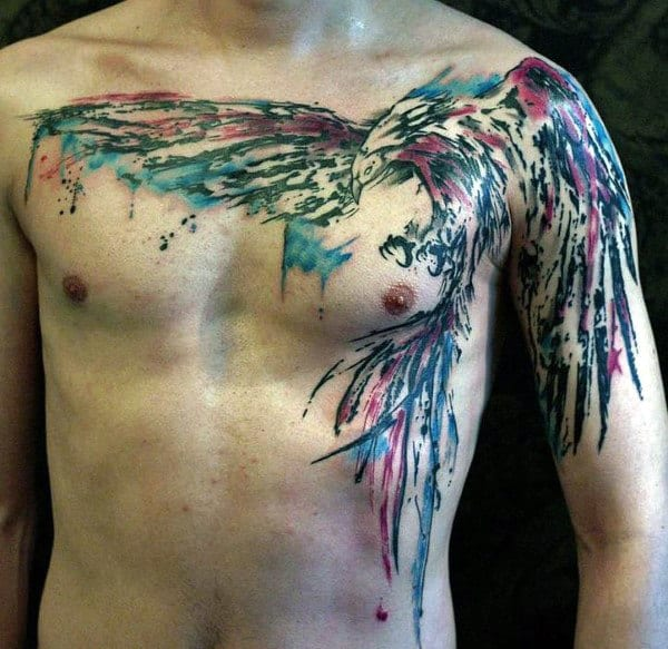 Elegant Watercolor Tattoo On Chest For Men