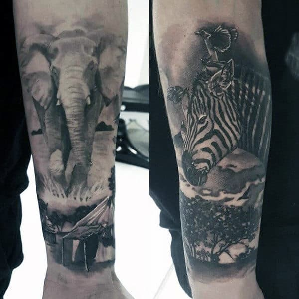 Elephant And Zebra Wilderness Animal Tattoos For Guys Lower Forearm Quarter Sleeve Design