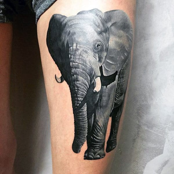 Elephant Animal Mens Thigh Tattoo