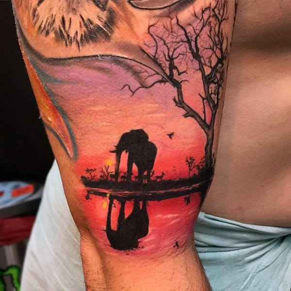 Elephant During Sunset Tattoo Mens Arms