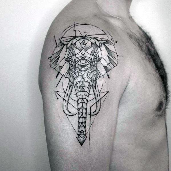 Elephant Geometric Arm Guys Tattoo Ideas