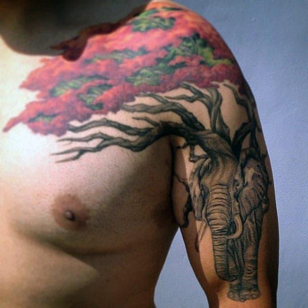 Elephant Under Bonsai Tree Mens Creative Arm And Shoulder Tattoos