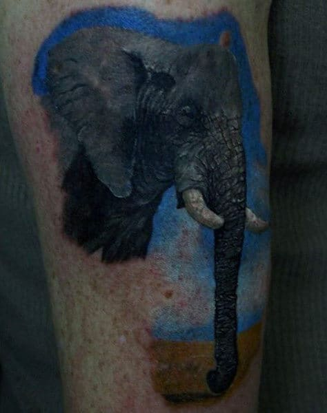 Elephant With Long Trunk Tattoo Mens Arms