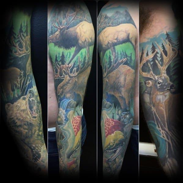 Elk Tattoo Designs On Men