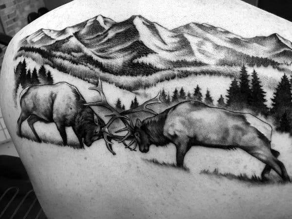 Elk Tattoo On Man