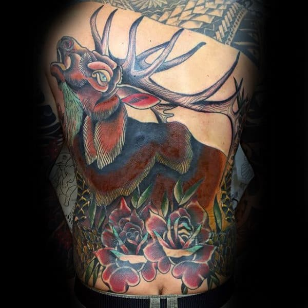 Elk With Rose Flowers Guys Traditional Back Tattoo Ideas