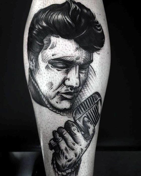 Elvis Presley Mens Tattoo Designs On Leg