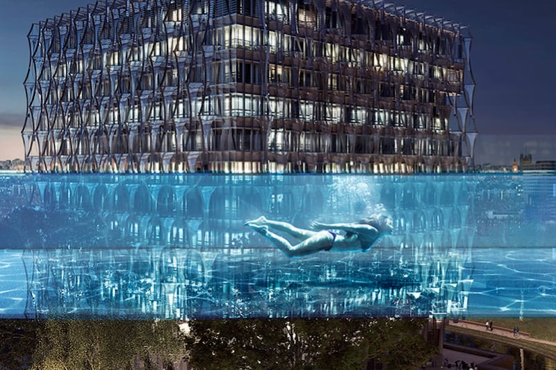 The World's First Sky Pool Is Suspended 115 Feet Above the Ground
