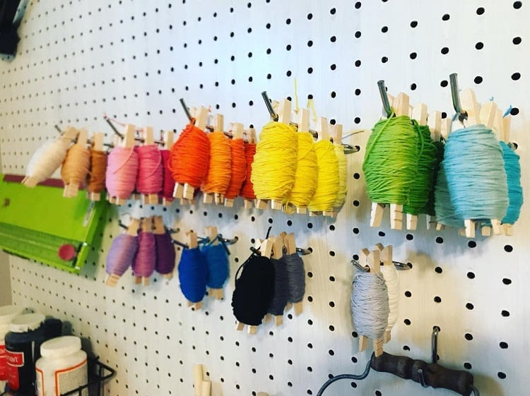 Embroidery Pegboard Craft Room