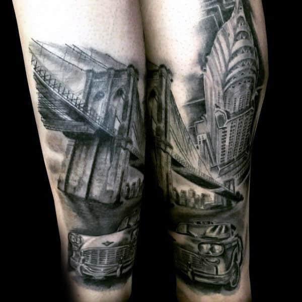 Empire State Building And Brooklyn Bridge Mens Leg Tattoos