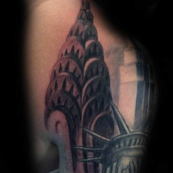 Empire State Building Mens Shoulder Tattoo Designs