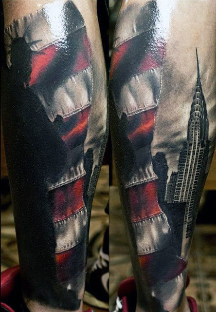 Empire State Building With American Flag Mens Forearm Sleeve Tattoo