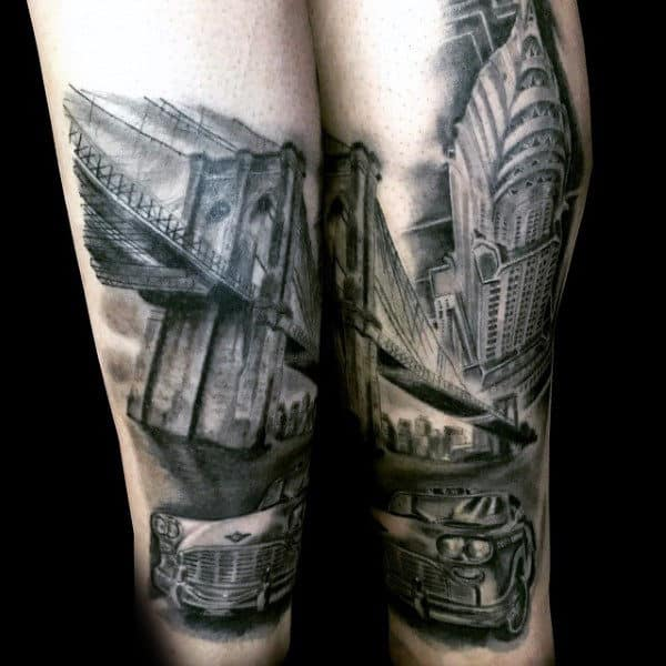 50 bridge tattoo design ideas for men architectural ink. Black Bedroom Furniture Sets. Home Design Ideas