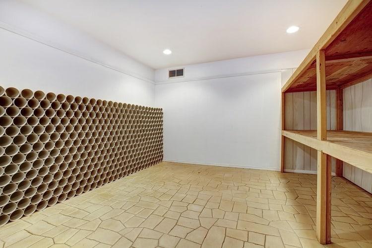Empty Wooden Shelves Wine Cellar Basement Storage