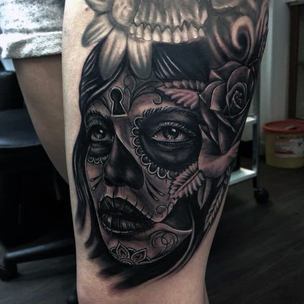 Enchanting Day Of The Dead Female Tattoo Mens Thighs