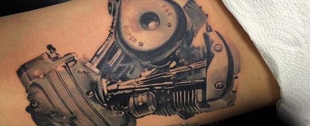 50 Engine Tattoos For Men – Motor Design Ideas