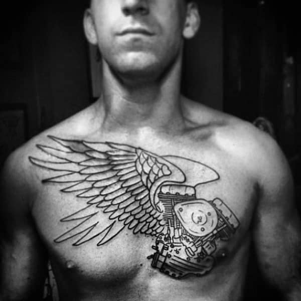 Engine With Angel Wings Male Biker Chest Tattoo Designs