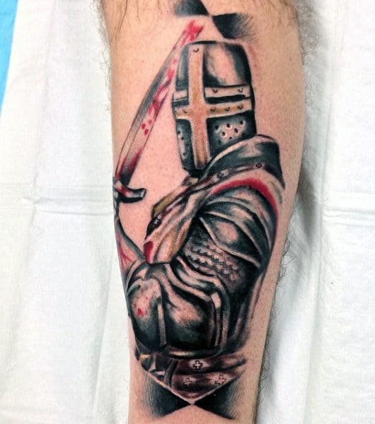 English Knight Tattoo For Guys On Back Of Leg