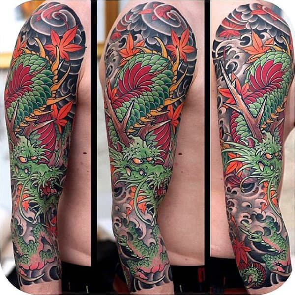 Enormous Dragon Tattoo Males Full Sleeve
