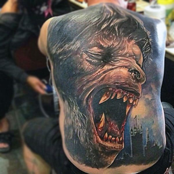 Enormous Open Mouhted Werewolf Man Tattoo On Male Full Back
