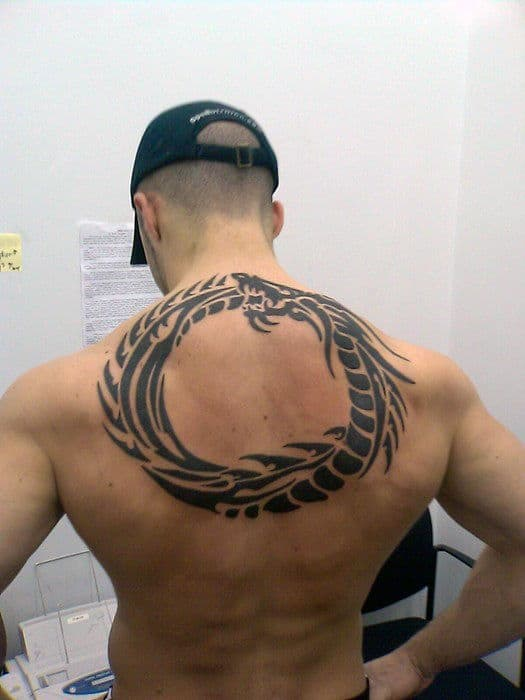 Enso Dragon Circle Mens Tribal Upper Back Tattoo
