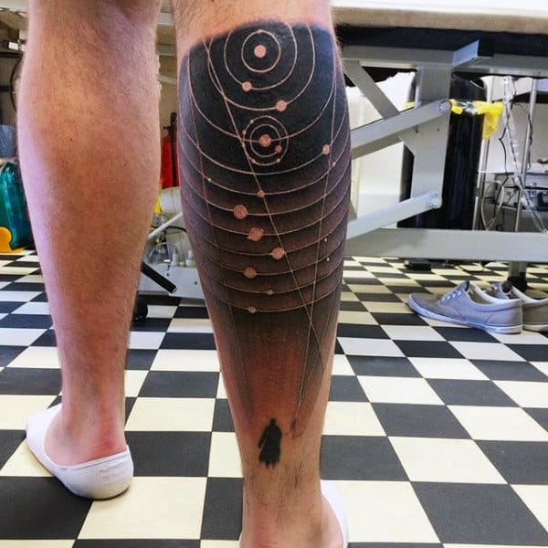 Enter Into The Solar System Tattoo On Calves For Men