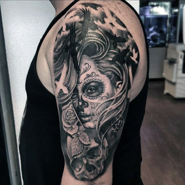 Enticing Grey Black Day Of The Dead Lady Tattoo Mens Arms
