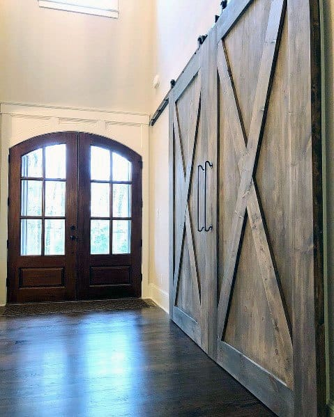 Entry Foyer Rustic Wood Home Ideas Barn Doors