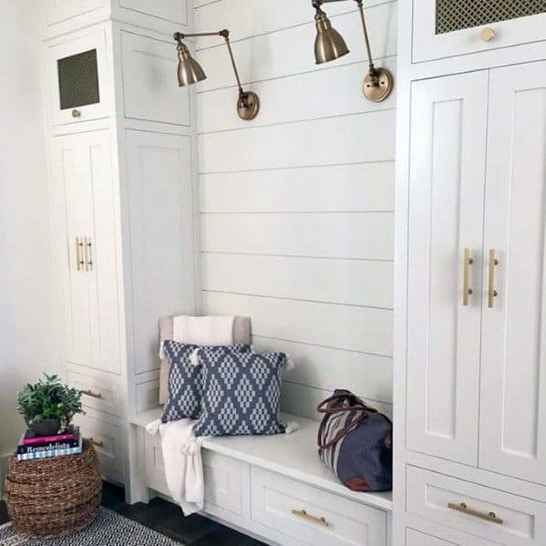 Entryway Bench With Storage Cabinets Designs Shiplap Wall