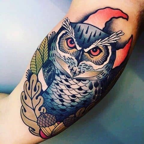 Epic Guys Neo Traditional Owl Moon Inner Arm Bicep Tattoo Designs
