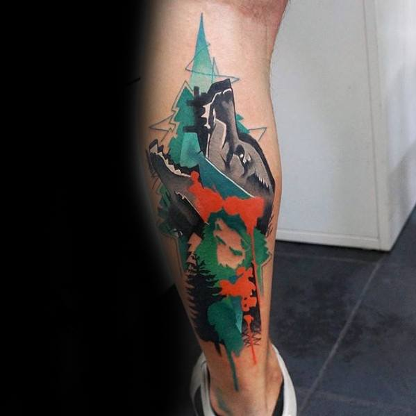 Epic Guys Wolf Watercolor Back Of Leg Tattoos